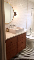 Mid-Century Modern Bathroom Vanity in Cherry with Leg
