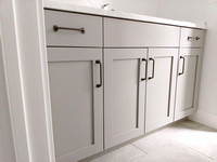 Grey Bathroom Vanity with Shaker Door