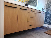 Modern Rift White Oak Vanity with Slab Door