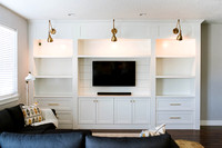 White Entertainment Center Built in w columns